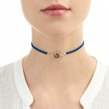 Shrieking Violet Real Mixed Flowers Navy Choker