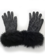 Alpaca Cable Knit Gloves Fur Trim